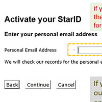 Using Your Personal Email Address to Activate Your StarID