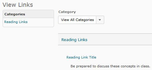 Screenshot of student view of Links page shows link titles and descriptions