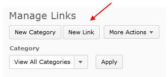 Screenshot of manage links page with New Link button selected