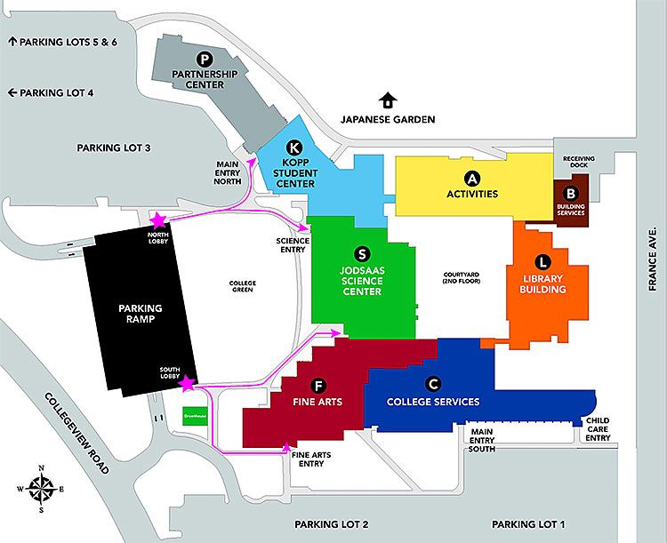 map of ncc campus Campus Maps Normandale Community College map of ncc campus