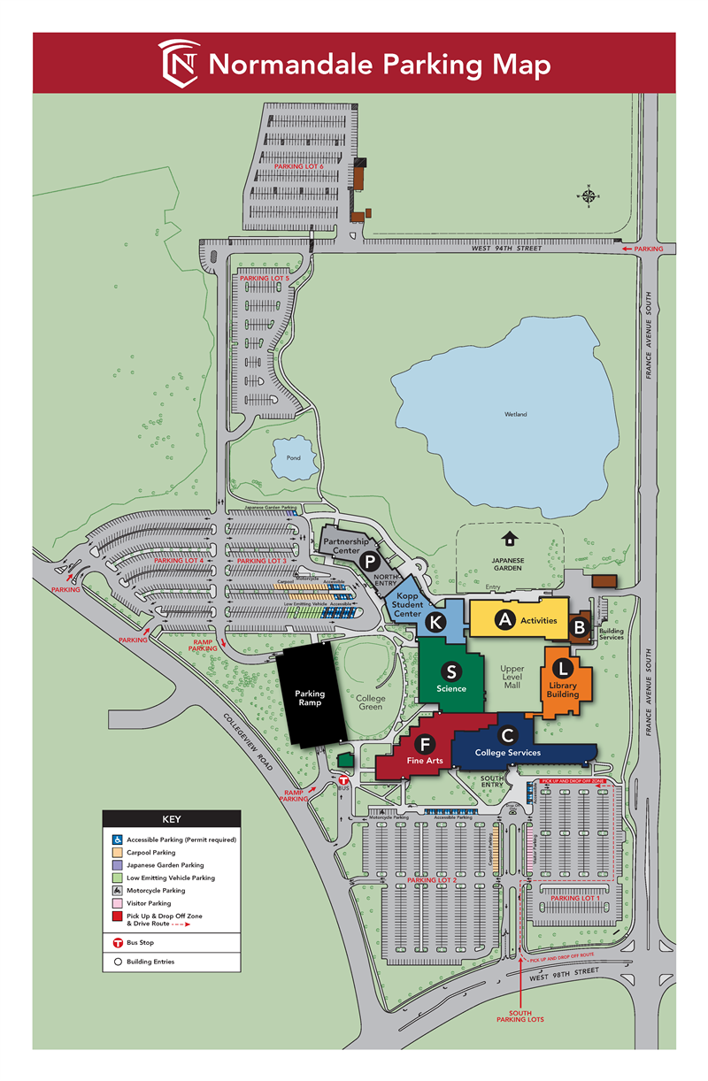 Normandale Parking Map