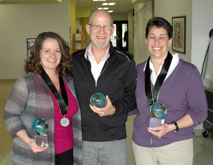 Faculty Award Winners Aimee Dubois, Kurt Schweickhardt, Anne-Marie Ryan-Guest
